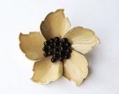 Vintage Enamel Earth Tone Color Flower Brooch