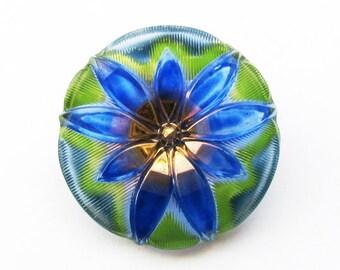 Czech Glass Flower Button with Faceted Petals - teal, green, blue
