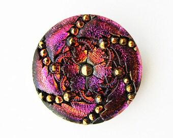 Czech Glass Floral Button - purple, violet, magenta, gold, black
