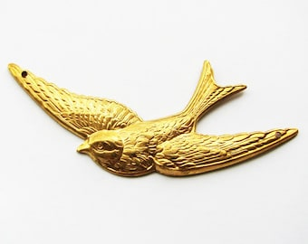 Raw Brass Swallow Bird Stamping Pendant, 1PC