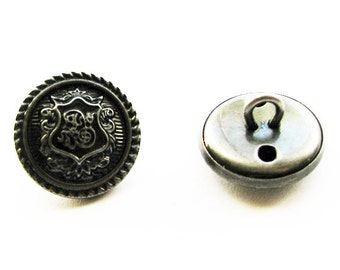 Ornate Metal buttons - antique silver, 18mm
