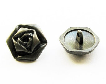 Rose buttons - antique silver, 22mm