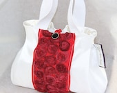 white and red Wedding Bag, Bridesmaid Purse, Bridal Handbag