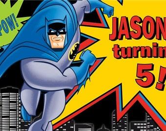 Batman Personalized Custom Vibrant Artist Vinyl Birthday Banner Party Decoration
