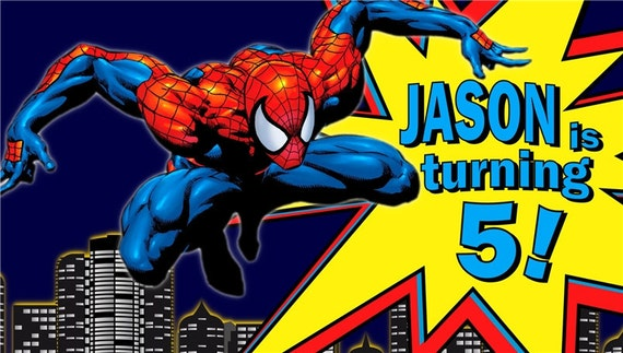 spiderman jump personalized custom birthday banner with a