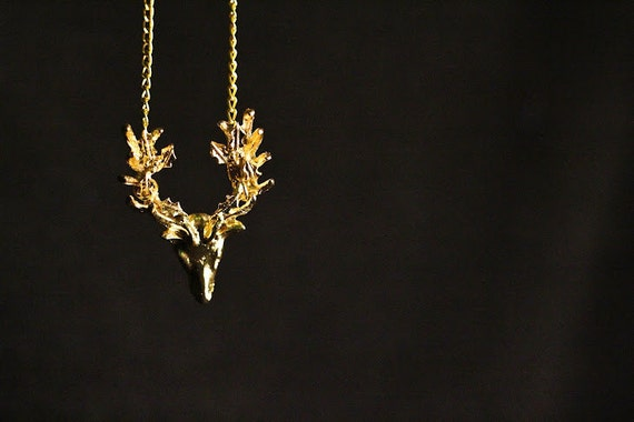 Gold Deer Head with Antlers Necklace