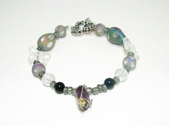 Crystal Butterfly Bracelet Surrounded by Stunning Assorted Glass Beads