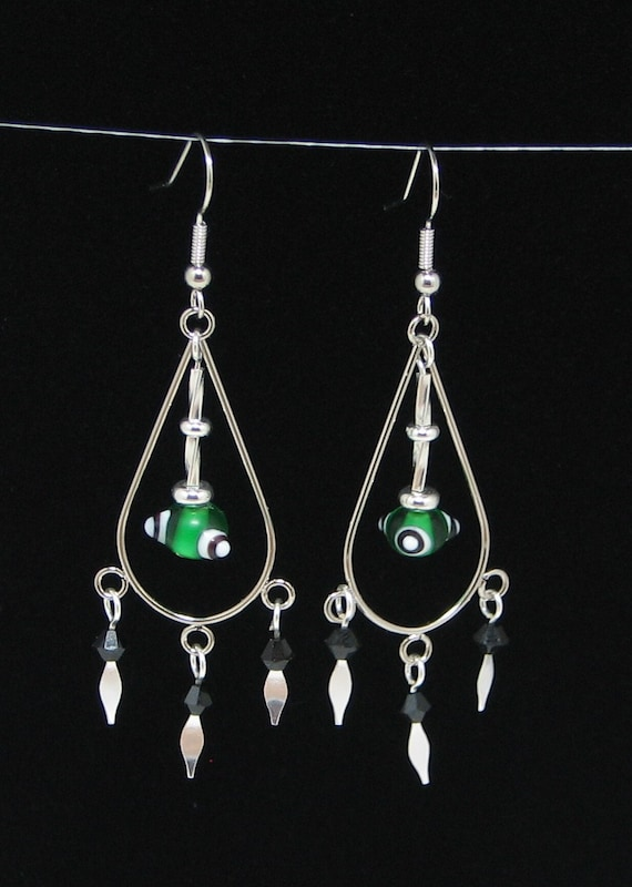Chandelier Earrings With Green White And Black Lampwork Glass Beads and Genuine Swarovski Crystals