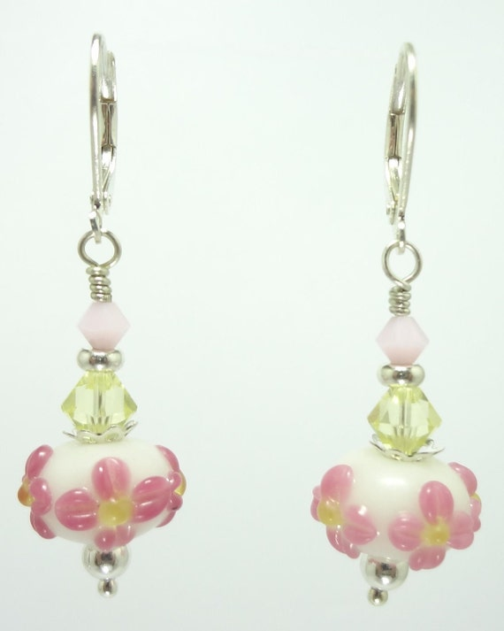 Earrings With Pink and White Flower Lampwork Glass Beads and Swarovski Crystals