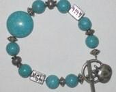 KABBALAH Silver Turquoise Bracelet pomegranate JUDAICA gift