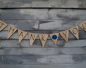 Thank you burlap banner with Teal colored felt flower