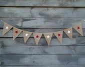 CLEARANCE SALE, Stars burlap banner glittered red and white