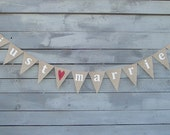 just married burlap banner with red glittered heart