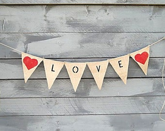 Love burlap bunting with red hearts