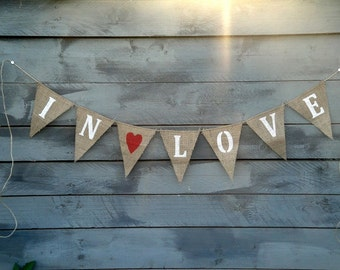 In Love Burlap Bunting with Red Heart, Valentines banner