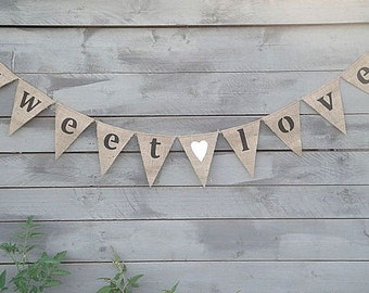 Sweet Love Burlap Banner with White Glittered Heart Lowercase