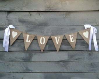 Love Burlap Banner Glittered White with Ribbon Bows - Wedding Garland