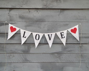 Love Burlap Banner Bunting with Red Hearts, Wedding Garland