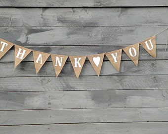 Thank you burlap bunting banner