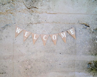 Welcome burlap bunting banner
