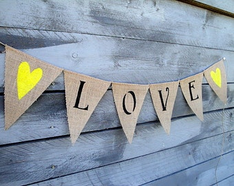 Love burlap bunting  with yellow glittered hearts
