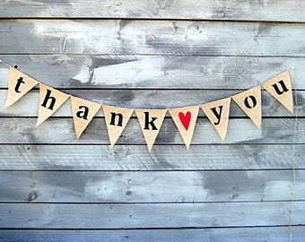 THANK YOU Burlap Banner Bunting with Red Heart