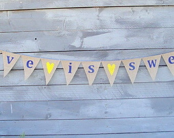 Love is sweet burlap banner with Navy Blue lettering and yellow hearts