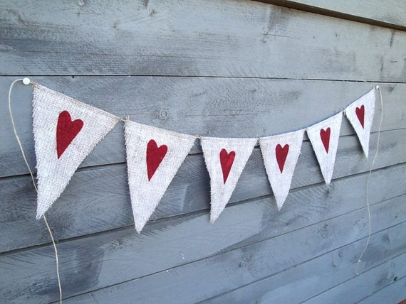 Painted Burlap Banner with Red Glitter Hearts