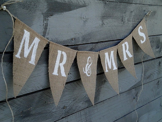 Mr&Mrs glittered burlap banner