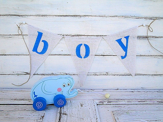 Boy blue burlap bunting, photography prop
