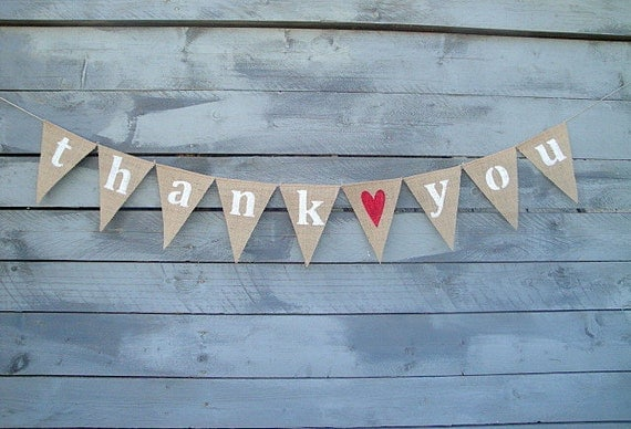 Thank you burlap banner with red glittered heart