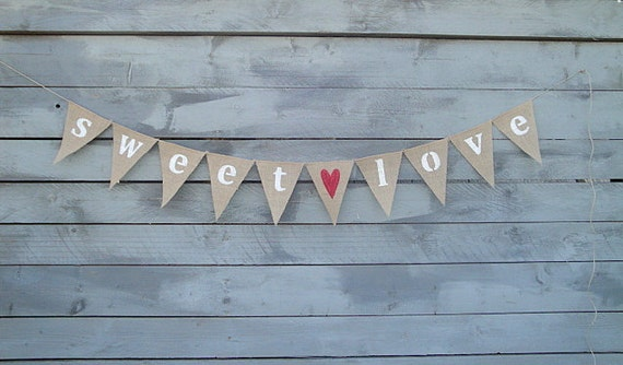 Sweet love burlap bunting banner with red glittered heart