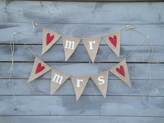 Mr and Mrs Burlap Banners with Red Glittered Hearts