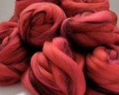 Red Spinning Fiber - The Red Queen Roving, Merino, Silk, Alpaca, 100g