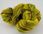 Handspun Art Yarn Yellow - BFL, Merino, Bamboo, Sunflower 1, 170m, 165g, Corespun Art Yarn, Aran