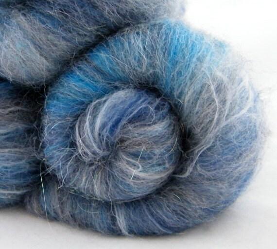 Blue Shetland Batts - Spinning Fiber, Stonewashed, British Shetland, Merino, Bamboo 100g 1018