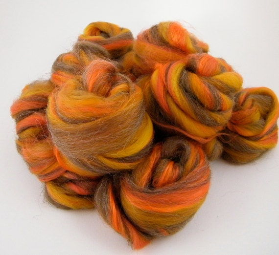 Wool Roving Orange Spinning Fiber - Cinder Toffee,  Merino, Shetland Silk 100g