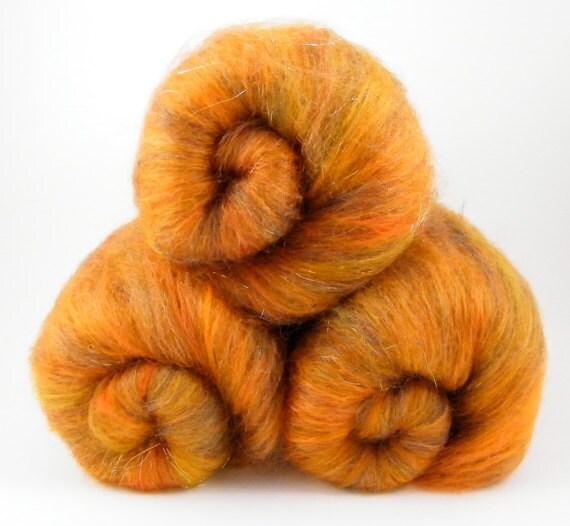 Spinning Fiber Batt- Orange, Ra,  BFL, Merino, Silk 100g
