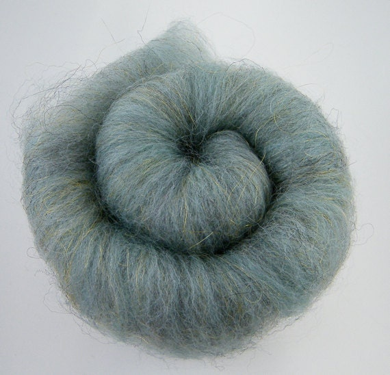 Teal Spinning Fiber Batt -Merino, Shetland, Nylon - Grey Teal Gold Pick n Mix Batt 35g