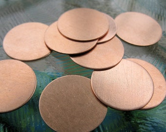 Copper 3/4 inch round disc,  Round Copper Blanks for Stamping, Ready to Ship!