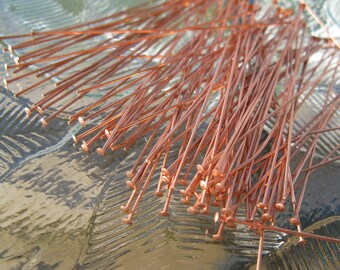 COPPER HEADPINS 24 gauge,  3 inch length You Get 100