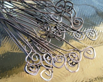 Copper Headpins Fiddleheads Oxidized - 10 - 22 gauge,  2 inch length