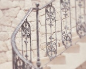 Waiting for the Moment - Stairs, Stones and Wrought Iron Hand Rail 5x7 - BelAtelier