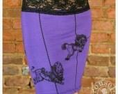 Purple Mini Skirt -  Printed skirt - Pencil Skirt - xLARGE skirt