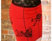 Red Mini Skirt - Red Black - Printed Skirt - Pencil Skirt - XLARGE