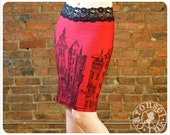 Red Pencil skirt - Printed skirt - Victorian - LARGE