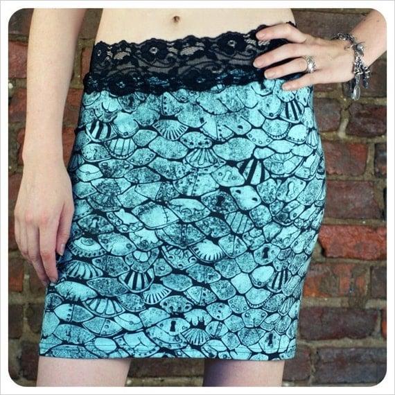 blue Mini skirt - Pencil Skirt - Printed Skirt - LARGE skirt