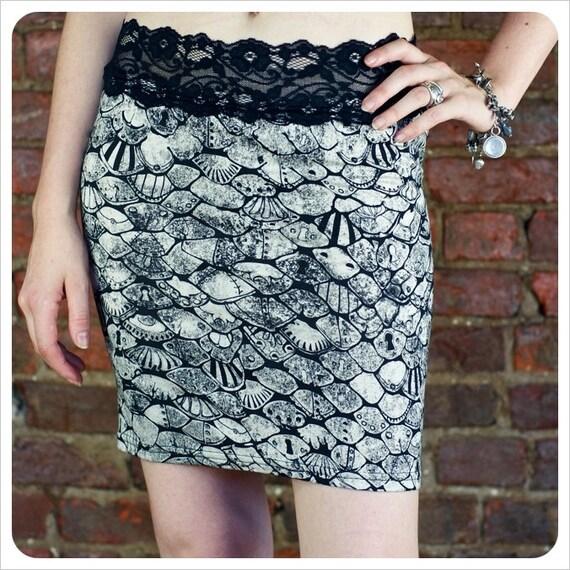 Mermaid Mini Skirt-  Pencil Skirt -  Printed Skirt - SMALL Skirt