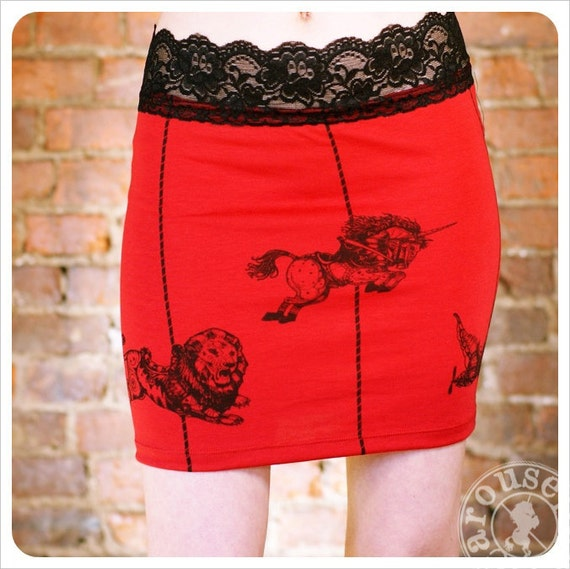 Carousel Red Pencil Skirt -  Steampunk clothing- Womens mini skirt - xLarge