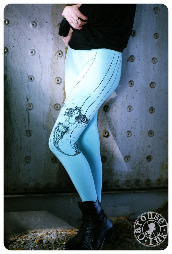 SALE - Turquoise Printed Leggings - Mermaid Legging - LARGE legging